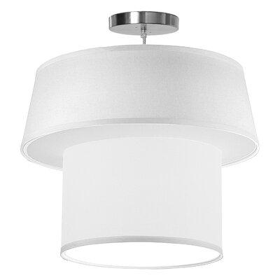 Clive 1-Light Drum Pendant Shade Color: White, Size: 18 H x 20 W x 20 D