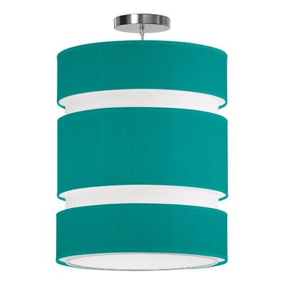Lena 2-Light Drum Pendant Size: 24 H x 20 W x 20 D, Shade Color: Turquoise