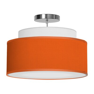 Abba 1-Light Drum Pendant Shade Color: Orange, Size: 12 H x 24 W x 24 D