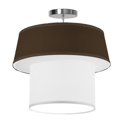 Clive 1-Light Drum Pendant Shade Color: Chocolate, Size: 22 H x 24 W x 24 D