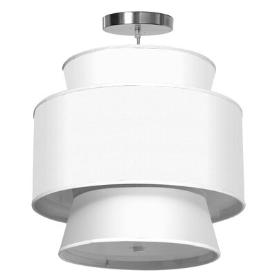 Arlo 1-Light Drum Pendant Shade Color: White, Size: 23 H x 24 W x 24 D