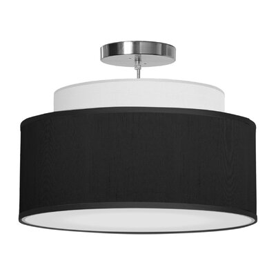 Abba 1-Light Drum Pendant Size: 12 H x 16 W x 16 D, Shade Color: Ebony