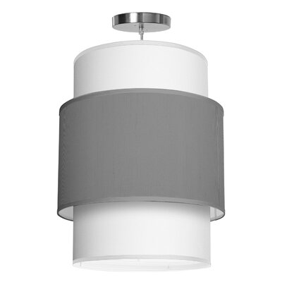 Evan 1-Light Drum Pendant Shade Color: Gunmetal, Size: 22 H x 16 W x 16 D