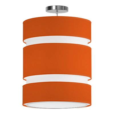 Lena 2-Light Drum Pendant Shade Color: Orange, Size: 28