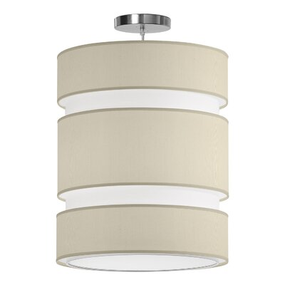 Lena 2-Light Drum Pendant Shade Color: Cream, Size: 24 H x 20 W x 20 D