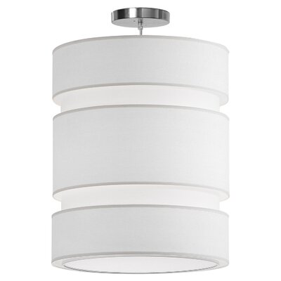 Lena 2-Light Drum Pendant Shade Color: White, Size: 28
