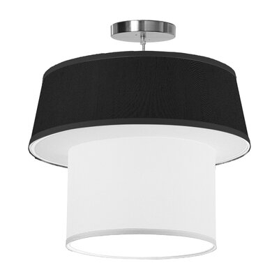 Clive 1-Light Drum Pendant Size: 18 H x 20 W x 20 D, Shade Color: Ebony