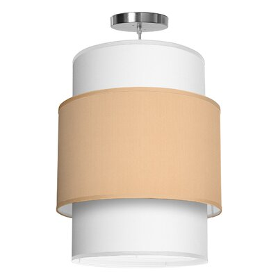 Evan 1-Light Drum Pendant Shade Color: Champagne, Size: 22 H x 16 W x 16 D