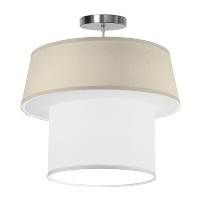Clive 1-Light Drum Pendant Shade Color: Cream, Size: 16 H x 18 W x 18 D