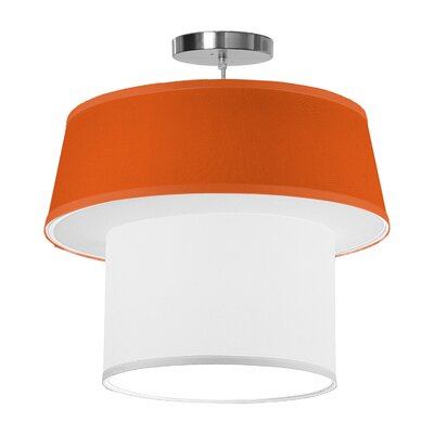 Clive 1-Light Drum Pendant Shade Color: Orange, Size: 16 H x 18 W x 18 D