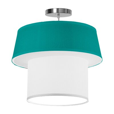 Clive 1-Light Drum Pendant Shade Color: Turquoise, Size: 18 H x 20 W x 20 D