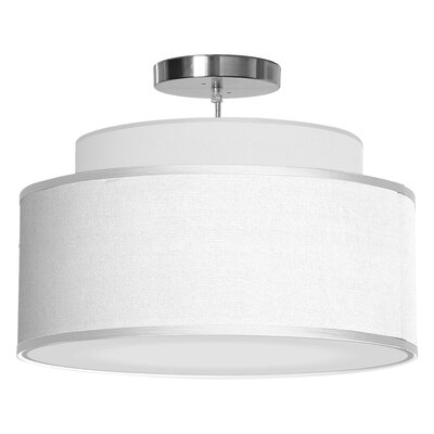 Abba 1-Light Drum Pendant Shade Color: White, Size: 12 H x 24 W x 24 D
