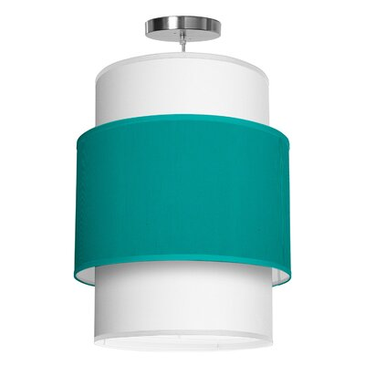 Evan 1-Light Drum Pendant Size: 26 H x 20 W x 20 D, Shade Color: Turquoise