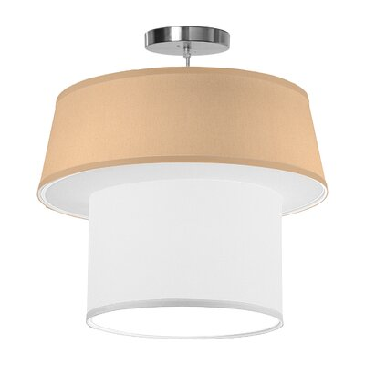 Clive 1-Light Drum Pendant Shade Color: Champagne, Size: 16 H x 18 W x 18 D