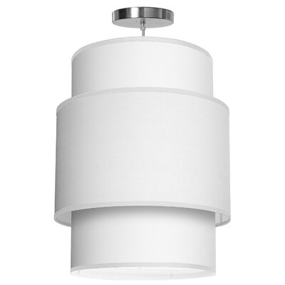 Evan 1-Light Drum Pendant Shade Color: White, Size: 22 H x 16 W x 16 D