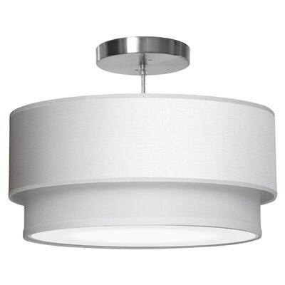 Luther 1-Light Drum Pendant Shade Color: White, Size: 7.5 H x 16 W x 16 D