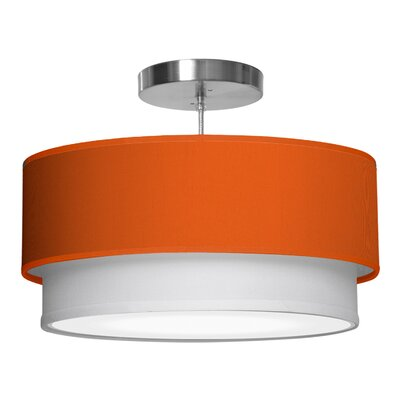 Luther 1-Light Drum Pendant Shade Color: Orange, Size: 7.5 H x 24 W x 24 D