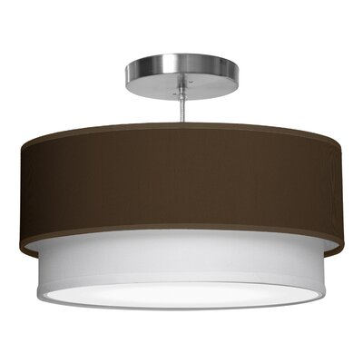 Luther 1-Light Drum Pendant Size: 7.5 H x 20 W x 20 D, Shade Color: Chocolate