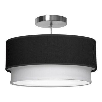 Luther 1-Light Drum Pendant Size: 7.5 H x 24 W x 24 D, Shade Color: Ebony