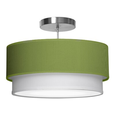 Luther 1-Light Drum Pendant Shade Color: Verde, Size: 7.5 H x 24 W x 24 D