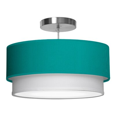 Luther 1-Light Drum Pendant Shade Color: Turquoise, Size: 7.5 H x 24 W x 24 D