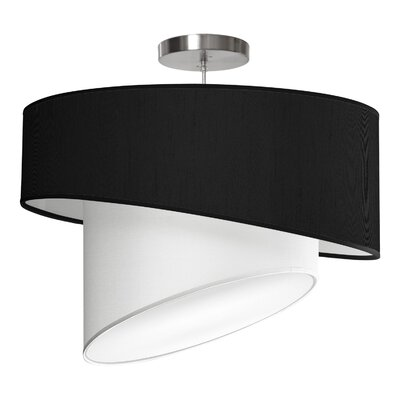 Twist 1-Light Drum Pendant Shade Color: Ebony, Size: 16 H x 24 W x 24 D