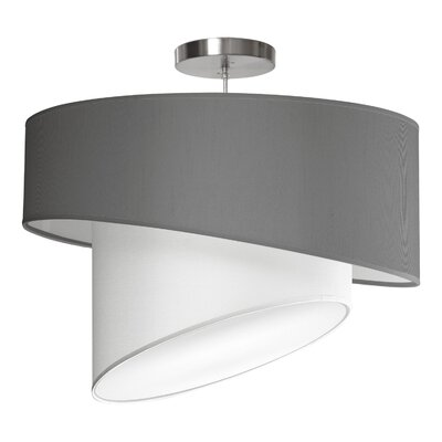 Twist 1-Light Drum Pendant Shade Color: Gunmetal, Size: 16 H x 24 W x 24 D