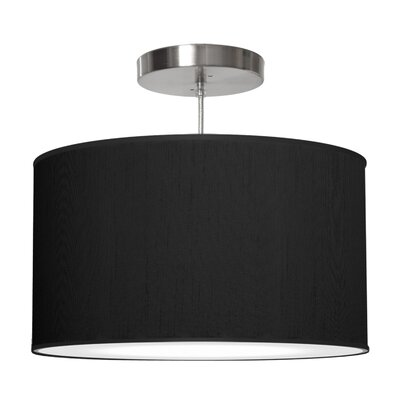 Thao 1-Light Drum Pendant Size: 11 H x 24 W x 24 D, Shade Color: Ebony