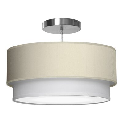 Luther 1-Light Drum Pendant Shade Color: Cream, Size: 7.5 H x 24 W x 24 D