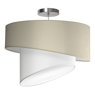 Twist 1-Light Drum Pendant Shade Color: Cream, Size: 16 H x 24 W x 24 D