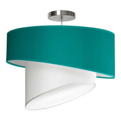 Twist 1-Light Drum Pendant Shade Color: Turquoise, Size: 12 H x 18 W x 18 D