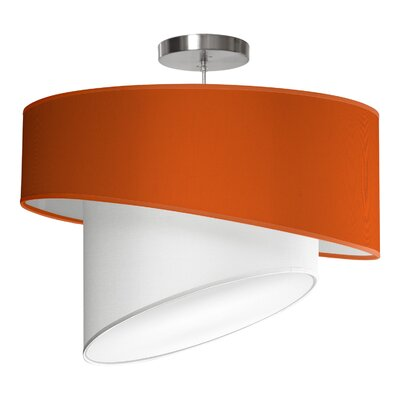 Twist 1-Light Drum Pendant Shade Color: Orange, Size: 16 H x 24 W x 24 D