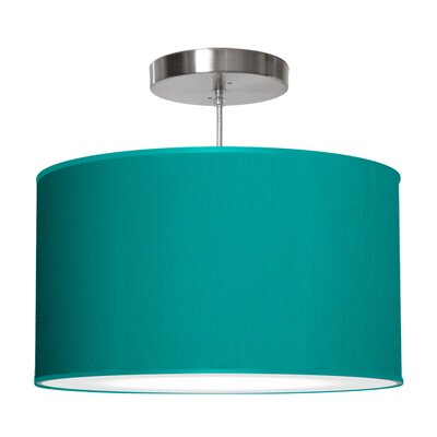Thao 1-Light Drum Pendant Size: 11 H x 24 W x 24 D, Shade Color: Turquoise