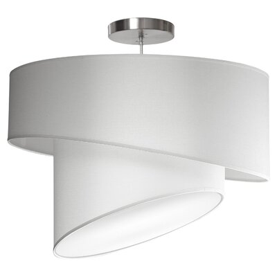 Twist 1-Light Drum Pendant Shade Color: White, Size: 12 H x 18 W x 18 D