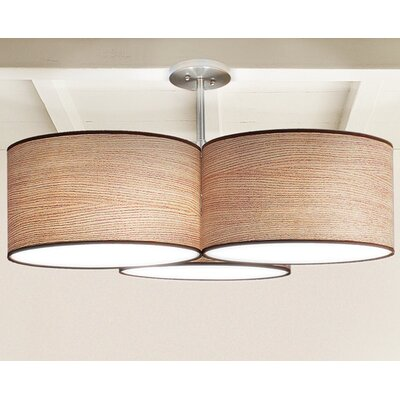 Tryptic 3-Light Drum Pendant Shade Color: Natural