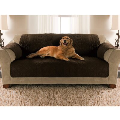 Double Diamond Microsuede Sofa Slipcover Upholstery: Bark