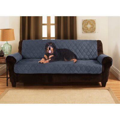 Honeycomb Box Cushion Sofa Slipcover Upholstery: Blue