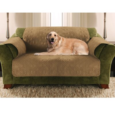 Double Diamond Microsuede Loveseat Slipcover Upholstery: Tan
