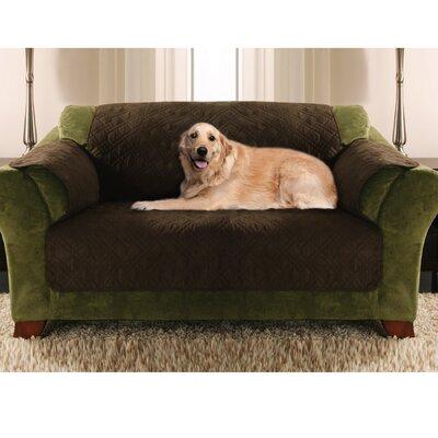 Double Diamond Box Cushion Sofa Slipcover Upholstery: Bark