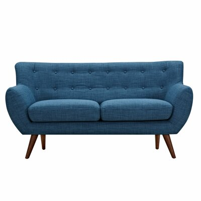 Ida Loveseat Frame Finish: Walnut, Upholstery: Stone Blue