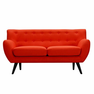 Ida Loveseat Upholstery: Retro Orange, Frame Finish: Black