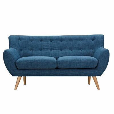 Ida Loveseat Frame Finish: Natural, Upholstery: Stone Blue