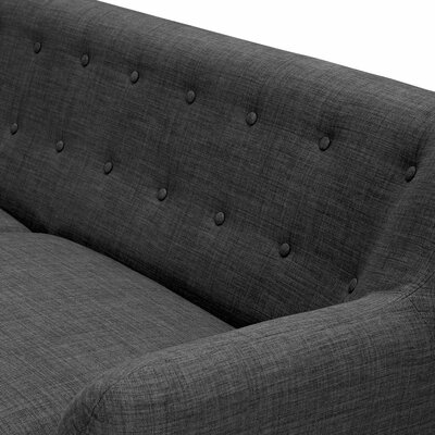 Ida Loveseat Frame Finish: Walnut, Upholstery: Charcoal Gray