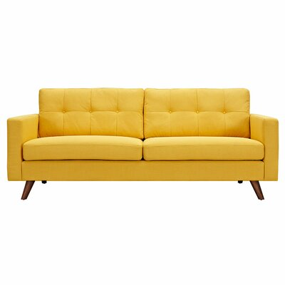 Uma Sofa Upholstery: Papaya Yellow, Finish: Walnut