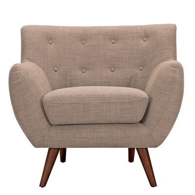Ida Armchair Leg Finish: Walnut, Upholstery Color: Light Sand