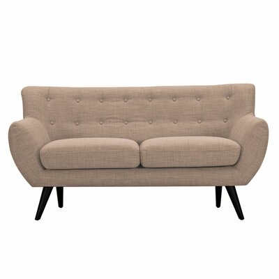 Ida Loveseat Upholstery: Light Sand, Frame Finish: Black