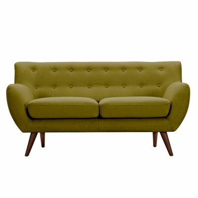 Ida Loveseat Frame Finish: Walnut, Upholstery: Avocado Green