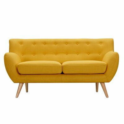 Ida Loveseat Frame Finish: Natural, Upholstery: Papaya Yellow