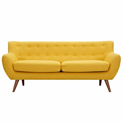 Ida Sofa Frame Finish: Walnut, Upholstery: Papaya Yellow