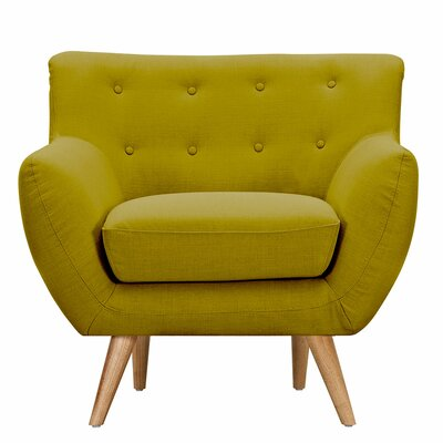 Ida Arm Chair Leg Finish: Natural, Upholstery Color: Avocado Green
